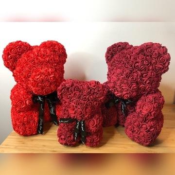 Kwiatowy MIŚ z róż 40 WYSYŁKA zPL czerwony/bordowy