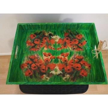 Taca podkładka decoupage kwiaty maki HAND MADE