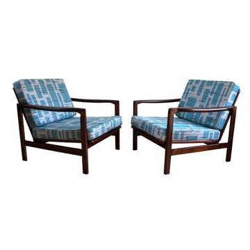 Komplet foteli PRL po renowacji, Zenon Bączyk 1960
