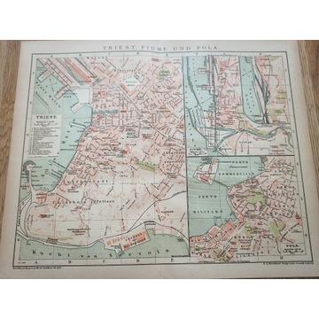 Stary plan miasta Triest Fiume Pola 1899r antyk.