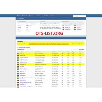 Tibia Gold OTS List Otservlist OTS-List.org Skrypt