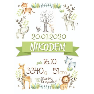 METRYCZKA dla dziecka A3  listki zoo zwierzaki