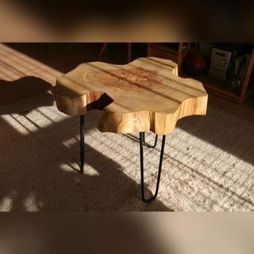 Stolik kawowy drewniany - z plastra drzewa akacji