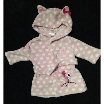 Szlafrok niemowlęcy dla dziewczynki 0-3 mcy
