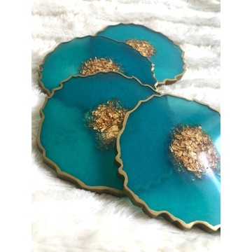 Podkładki z żywicy epoksydowej turkusowe, handmade