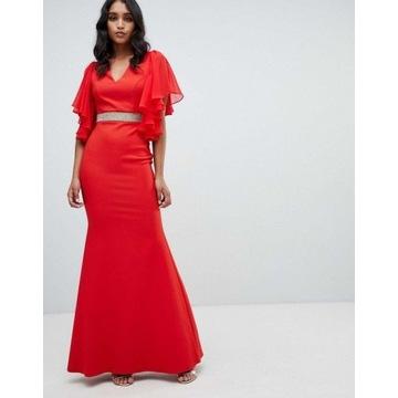 Lipsy london czerwona sukienka wesele długa XS 36