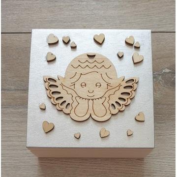 Pudełko drewniane Skrzynka Prezent Komunia Chrzest