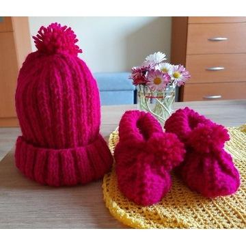 Buciki i czapeczka dla niemowlaka ręcznie robione