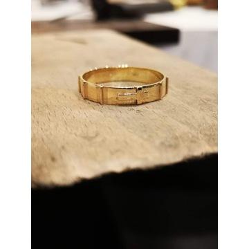 Złota obrączka różaniec roz 20 próba 585