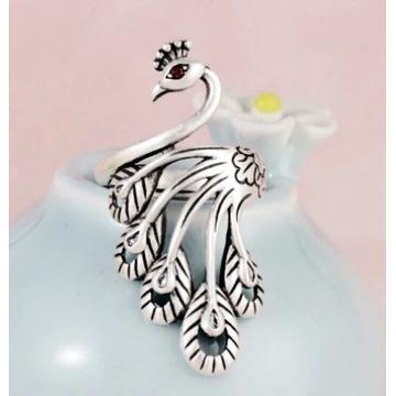 """Pierścionek srebrny """"paw"""", pr.925 regulowany"""