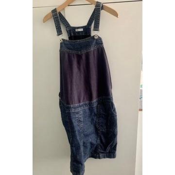 Jeansowa ciążowa sukienka ogrodniczka
