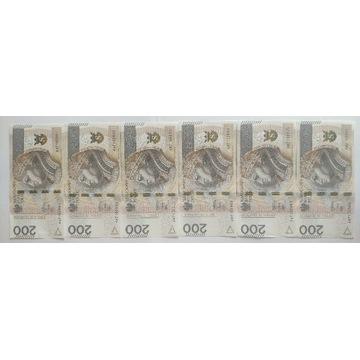 Zestaw Seria Banknot 200zl AW 7102901 - AW 7102906