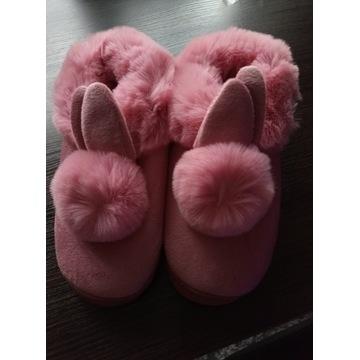 Kapcie pluszowe króliczki różowe dla pań