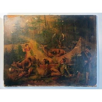 Stary obraz znaleziony na strychu wiek 120-150l at