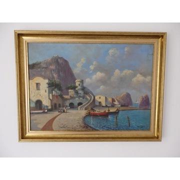 Obraz olejny - widok śródziemnomorski
