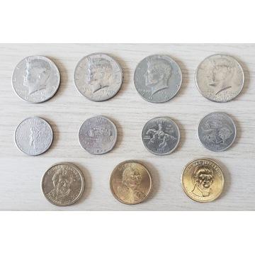 USA  1 dolar,25 i 50 centów. zestaw 11 sztuk