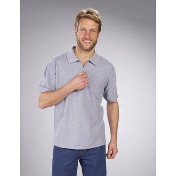 Szara Koszulka Polo z czystej bawełny, rozmiar 2XL