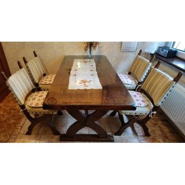 Solidny stół dębowy i 4 wyściełane krzesła + szyba