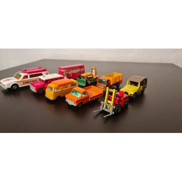 Zestaw samochodzików Matchbox 9 sztuk zabawki PRL