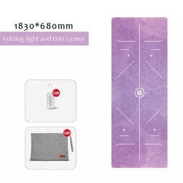 Yoga fitness mata joga 183x66cm 6mm Zamsz + PU