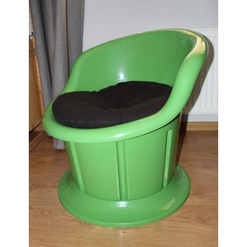 IKEA Popptorp zielony fotel ze schowkiem +poduszka
