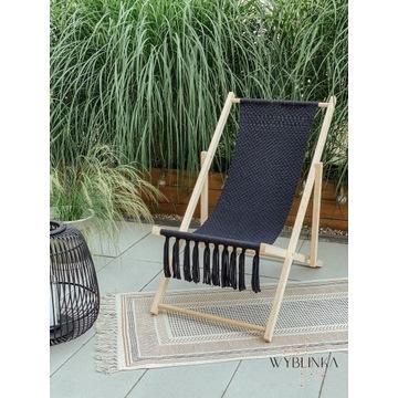 Promocja !! Leżak plażowy drewniany makrama boho