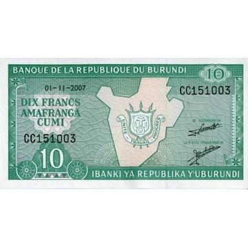 Burundi 10 Francs 2007 UNC banknot