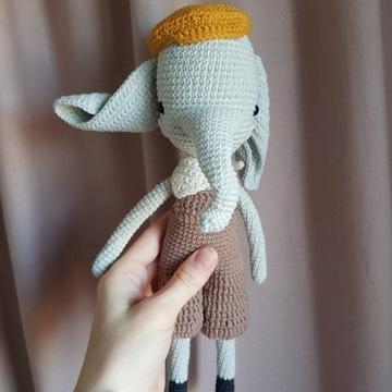 Słoń maskotka handmade prezent dzień dziecka 29cm