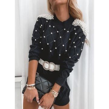 Sukienka, tunika, sweter. Perły