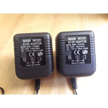 Dwa zasilacze Maw Woei 230V, 65mA, 7.5V, 750mA
