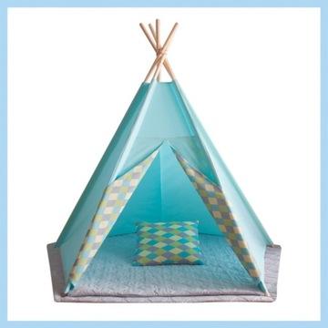 Namiot Tipi ZABAWKA TURKUSOWY W TURKUSOWE ROMBY.