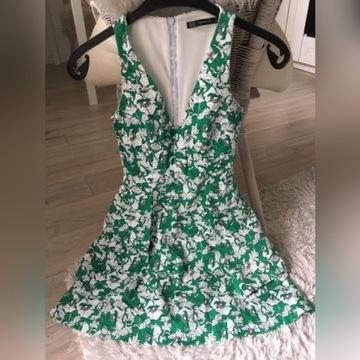Sukienka w kwiaty zielona zara xs 34 biała