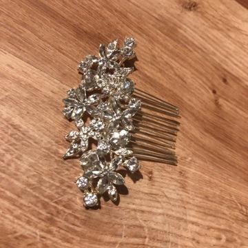Nowy grzebyk do włosów srebrny wesele ślub