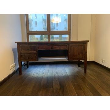 Kolonialne biurko z egzotycznego drewna