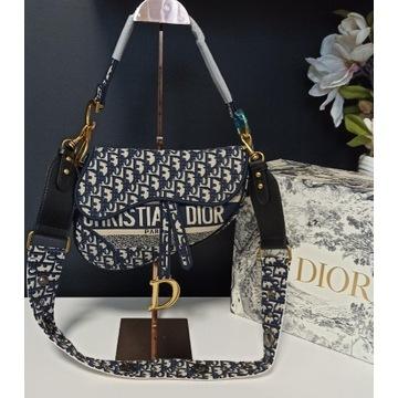Torebka Christiana Dior siodło blue haft