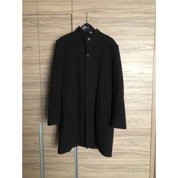 Czarny płaszcz męski rozmiar L wełna z kaszmirem