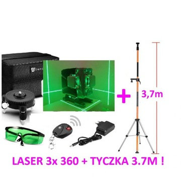Laser krzyżowy zielony 360 poziomica 3D 4D+ TYCZKA