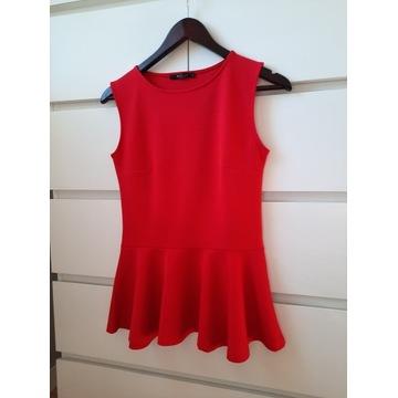 Bluzka top baskinka Mohito czerwony bez rękawów