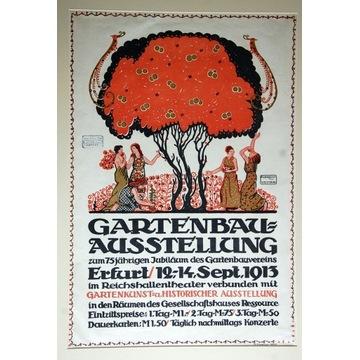 Stary secesyjny plakat z Wystawy Ogrodniczej 1913r