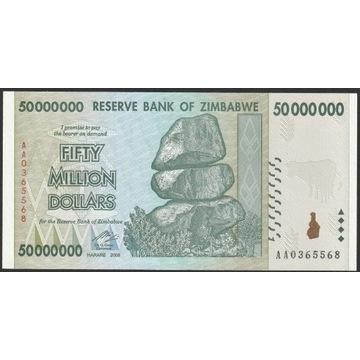 Zimbabwe 50000000 dolarów 2008 - stan bankowy UNC