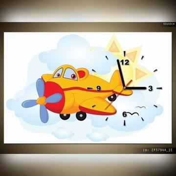 Obraz zegarem dla dzieci 60x40 samolocik samolot