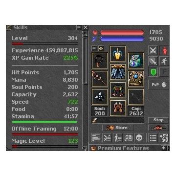 305 + MS FULL EQ+6KK EZODUS.NET Tibia OTS
