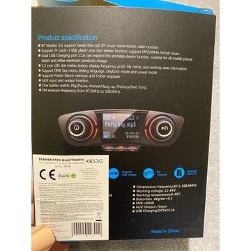 Radio samochodowe transmiter Bluetooth 8w1