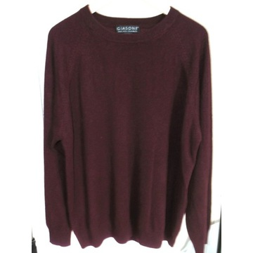 Sweter męski 100% kaszmir 2 Ply Cashmere bordowy