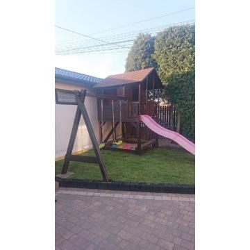 Domek dla dzieci, zjeżdżalnia huśtawki, plac zabaw