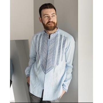 Elegancka lniana koszula hartowana . Folk , Etno