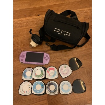 PSP FIOLETOWE, etui na gry i transporter + 8 Gier