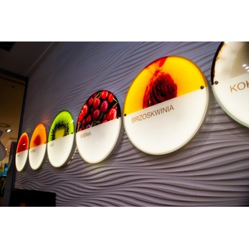 Owoce wydrukowane na szkle - reklama