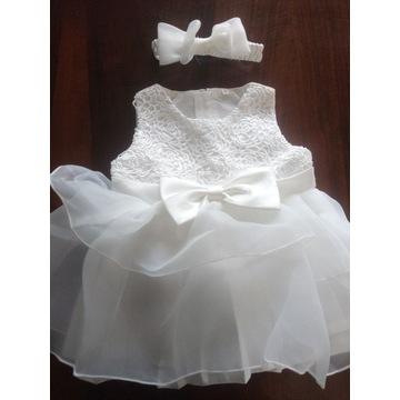 Sukienka wizytowa święta chrzest plus opaska