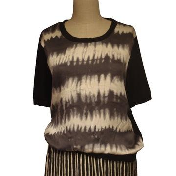 Niepowtarzalna jedwabna bluzka szaro - czarna